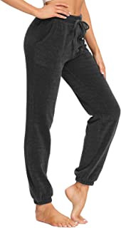 SEVEGO Women's Soft Thermal Joggers Warm Lounge Pants with Pockets Drawstring Loose Fit Chenille Bottoms
