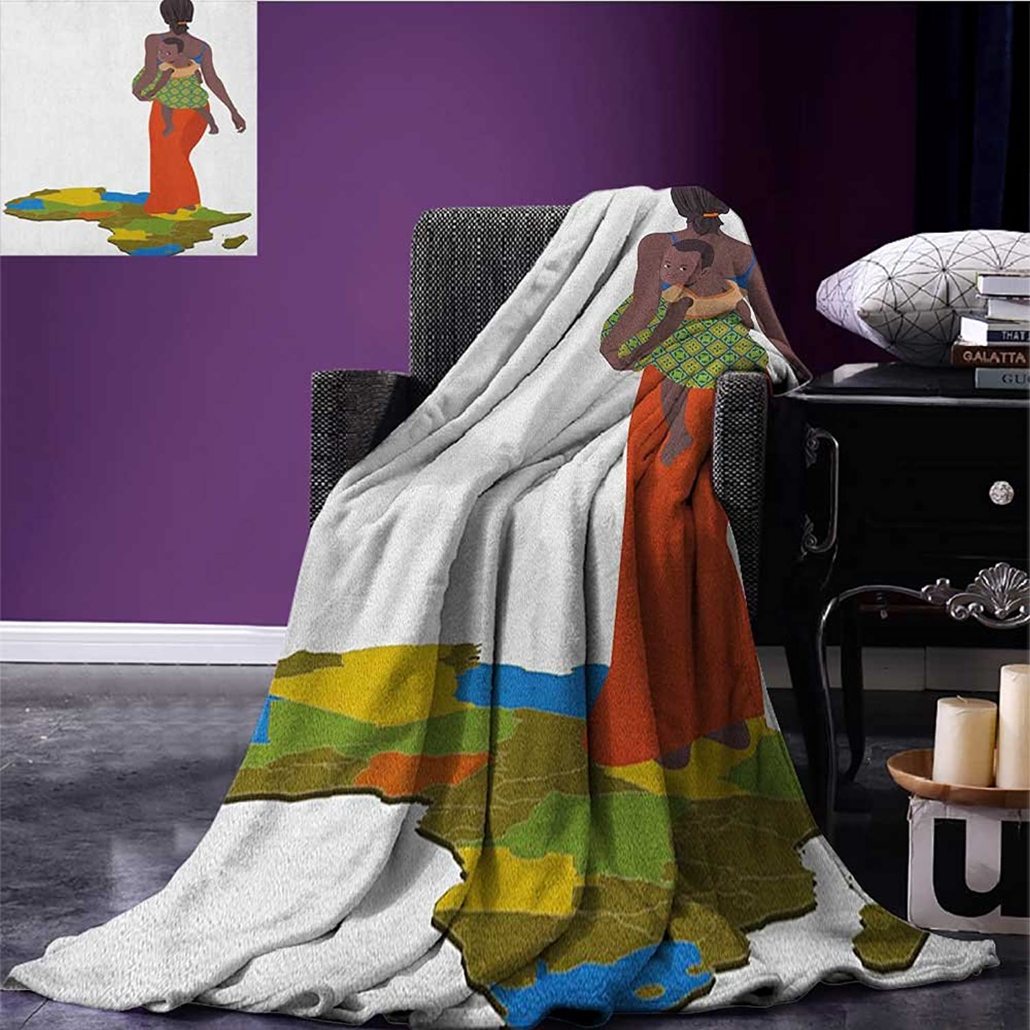 African Woman Wearable Blanket Mother Carrying Baby Girl on Her Back Africa Country Culture Continent Map Security Blanket Multicolor Size 59 x35.5