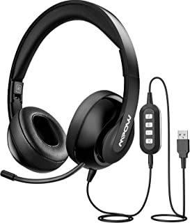 Mpow 3.5mm/USB Headsets, Foldable Computer Headset with Mute Function, PC Headphones with Retractable Microphone Noise Can...