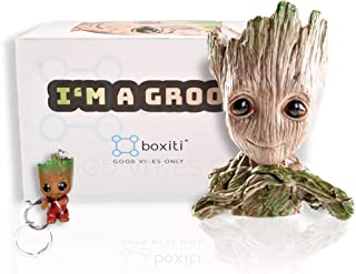 Boxiti Groot Pen Holders - Baby Groot Planter Ideal Gift - Guardian The Galaxy Pen Holders - Groot Flowerpot Baby Model Toy Comes Free Groot Key Ring (Model 2)