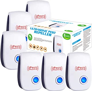 Ultrasonic Pest Repeller 6 Pack, 2021 Newest Upgraded Ultrasonic Pest Repellent Indoor Pest Control Electronic Plug in Ins...