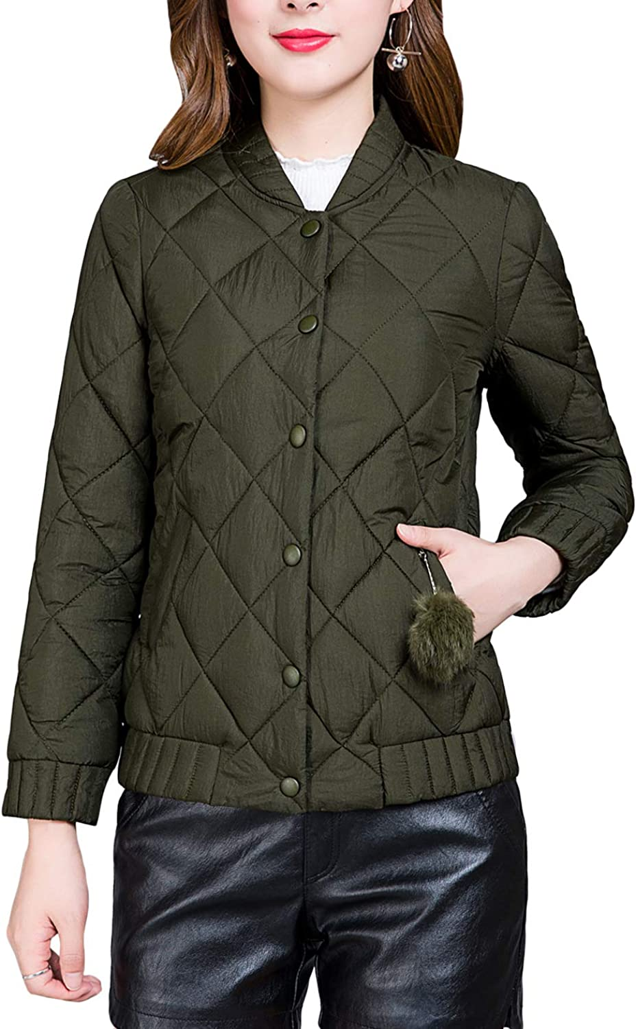 Jenkoon Women Short Diamond Quilted Jacket Thickened Coat Puffer Bomber Jacket