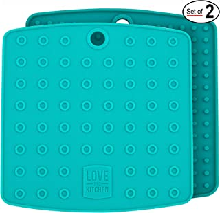 Premium Silicone Trivet & Pot Holders. Our Silicone Hot Pads also Works as Jar Opener Gripper Pad, Large Coasters & Spoon Rest. Trivets are Flexible & Heat Resistant to 442 F (7x7 inch, Teal, 1 Pair)