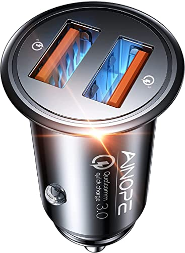 AINOPE Cargador Coche Usb, [Puerto Dual QC3.0] 36W / 6A [Todo Metal] Cargador Movil Coche Mini Cargador Coche Rapido ...