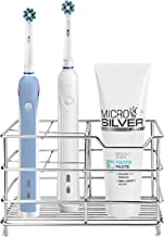 Amazer Electric Toothbrush Holder, Stainless Steel Rustproof Metal Bathroom Toothpaste Holder Stand with Multi-Functional 5 Slots for Electric Toothbrush, Silver