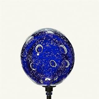 Rosenkugel 10 cm Edelstahl Marmor blau Dekokugel Kugel mit Stab 80 cm
