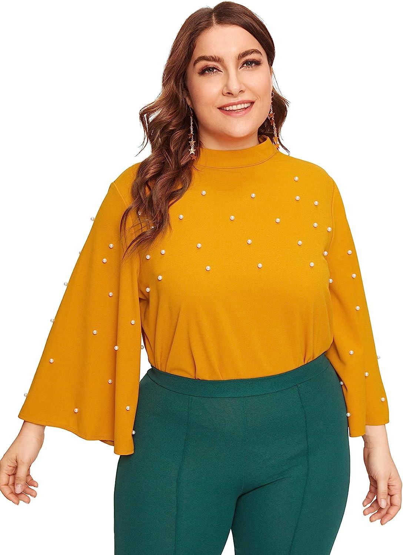 ROMWE Womens Plus Elegant Pearls Beaded Long Sleeve Blouse Top