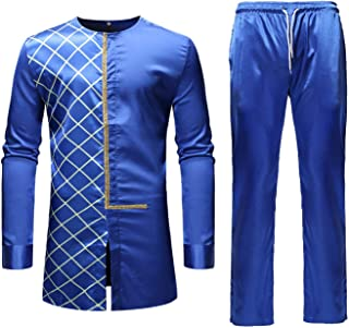 Men's Casual African Dashiki Print Two Piece Outfit Long Sleeve Slim Fit Hipster Shirt Pants Set