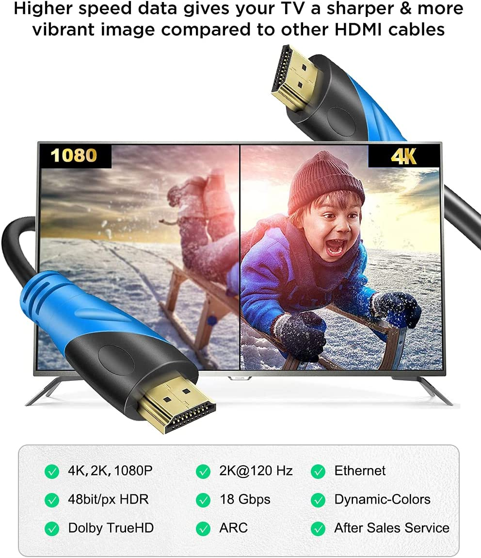 4K HDMI Cable - Rommisie 5 FT(HDMI 2.0,18Gbps) Ultra High Speed Gold Plated Connectors,Ethernet Audio Return,Video 4K,HD 1080p FullHD UHD 3D Compatible With Xbox Playstation Arc PS3 PS4 PS9 PC HDTV