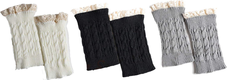 LeJulyeekay Women's Fashion Lace Leg Warmers Winter Knit Boot Cuffs Topper Socks