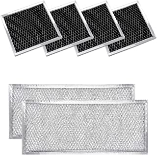 W10208631A Grease Filter Filter Aluminum Mesh & 8206230A(4 PCS) Charcoal Filter Replacements by AMI