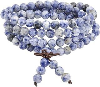 Jovivi - 108 perle in sodalite, pietra naturale, collana / braccialetto con catena rosario multi-giro, preghiera Yoga tibe...