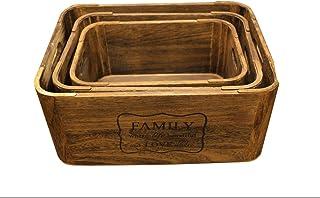 صندوق تخزين من الخشب الصلب 3 في واحد جديد صندوق تخزين خشبي كبير جداً مجوف بزاوية ملفوفة سميكة مجوفة على شكل مربع الفاكهة ا...