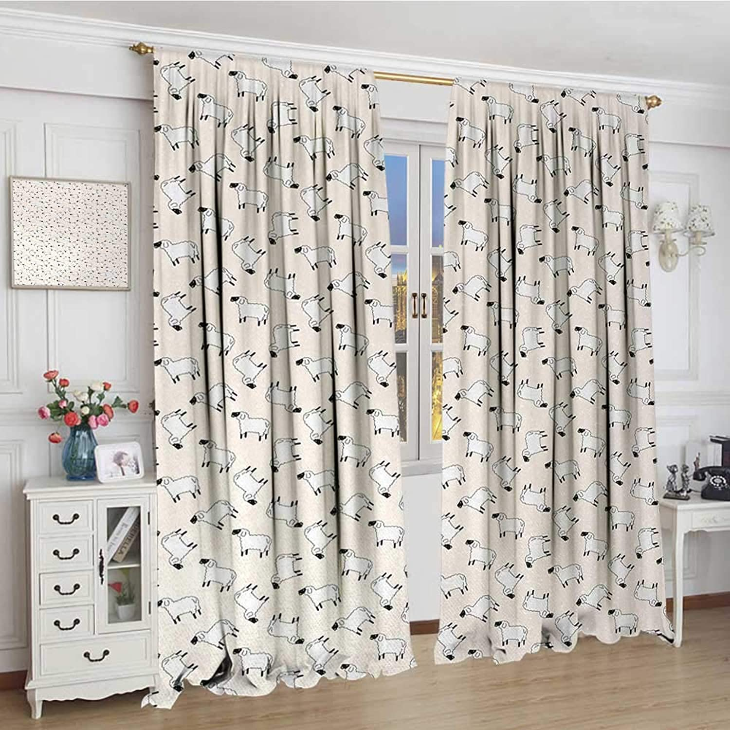 Smallbeefly Sheep Thermal Insulating Blackout Curtain Cartoon Style Funny Animals Chewing Green Weed Farm Wildlife Themed Pattern Patterned Drape Glass Door 72 x96  White Black Green