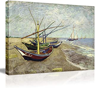 Famous Artworks Van Gogh Framed Canvas Prints- Fishing Boats on The Beach at Les Saintes Maries Sea Wave Oil Painting Print On Stretched Canvas Wall Decor Large Modern Wall Picture Picabala-28×20
