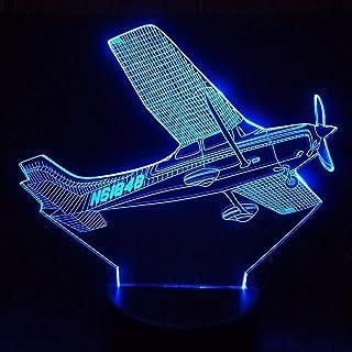 YDBDB Luz nocturna 3D Led 7 Cambio de Color Helicóptero Modelado Lámpara de Mesa Avión Aéreo Mesita de noche Luminaria Avión de Aire Regalos