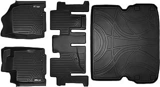 SMARTLINER Floor Mats 2 Rows and Cargo Liner Behind 2nd Row Set Black for 2013-2019 Pathfinder / 2013 JX35 / 2014-2019 QX60