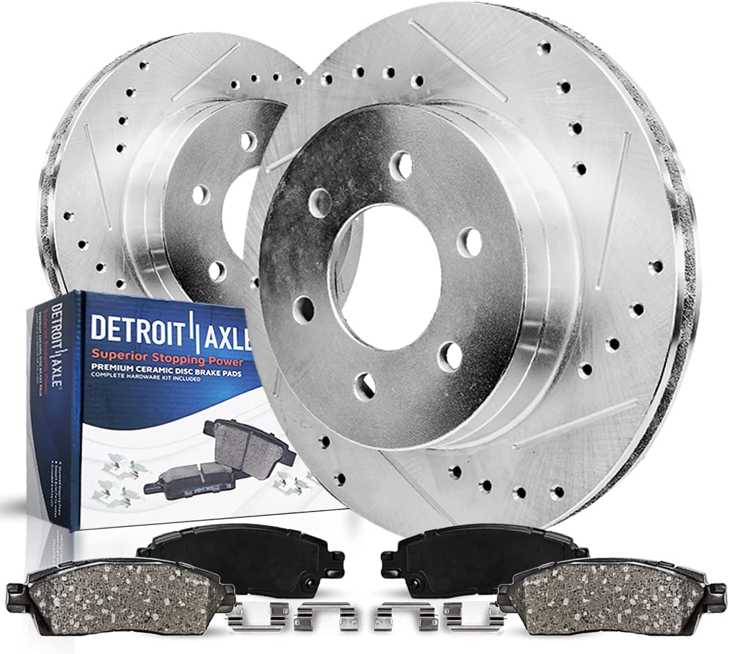 Detroit Axle - Front Drilled Slotted C 期間限定で特別価格 超目玉 Rotors Kit Disc Brake
