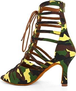 Dames Latin Dansschoenen Camouflage Stof Danslaarzen Indoor Buitenzool 9,0 cm met riemen Heel Hoogte Suède Bodem