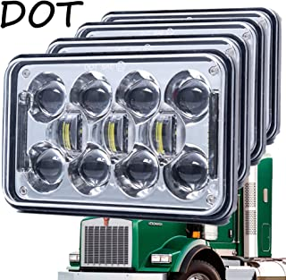 Newest 60W 4x6 Inch LED Headlights with DRL for H4651 H4652 H4656 H4666 H6545 Freightliner Kenworth Peterbilt International Volvo Sterling Western Star Mack(Chrome 4Pcs)