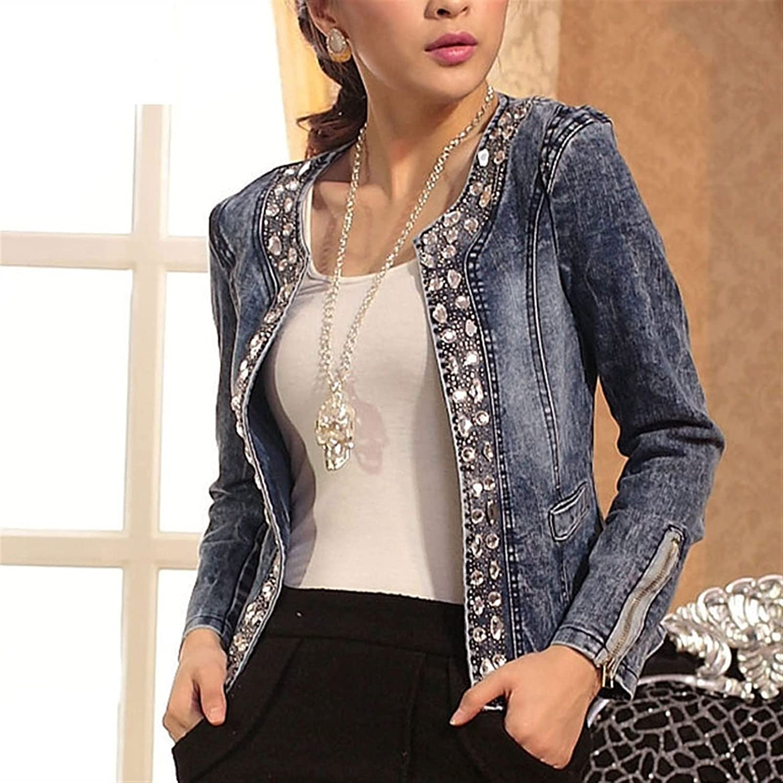 TDIDOJQ Jacket Spring Fashion Women Denim Jacket Slim Zipper Casual Short Sequins Outerwear Ladies Vintage Biker Crystal (Color : Blue, Size : Middle)