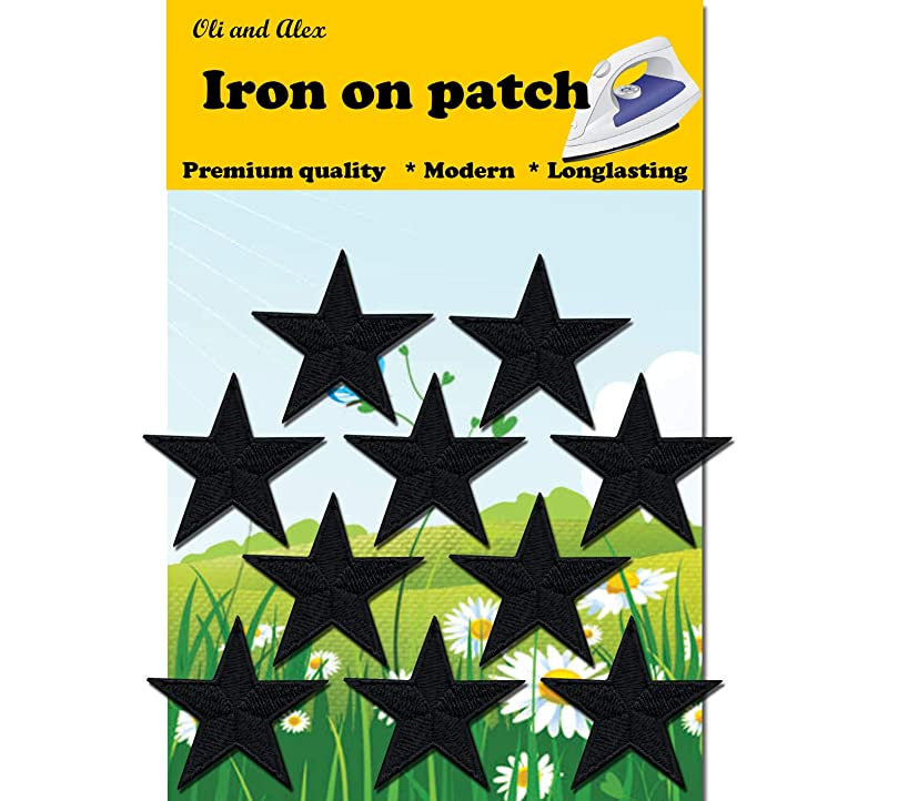 Iron On Patches - Black Star Patch 10 pcs Iron On Patch Embroidered Applique A-96