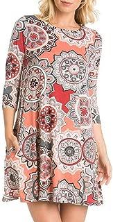 Buauty Women's Boho Floral Blouse Dresses Loose Crew Neck Shirt Print Tunic Tops