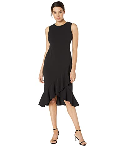 Calvin Klein Ruffle Hem Midi Dress (Black) Women