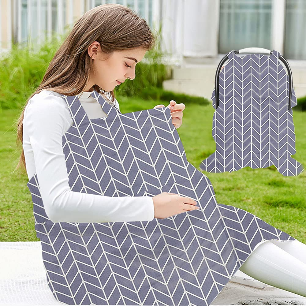 Nursing Cover Breastfeeding Scarf - Baby Car Seat Covers, Infant Stroller Cover, Carseat Canopy for Girls and Boys (B)
