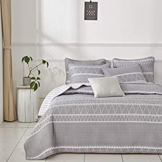 Joyreap 2 Pieces Quilt Set Twin Size 68x86 inches, Smooth Soft Microfiber Quilt, Triangle Stripes on Gray Design, Bedspread Bed Cover for All Season, 1 Quilt and 1 Pillow Sham