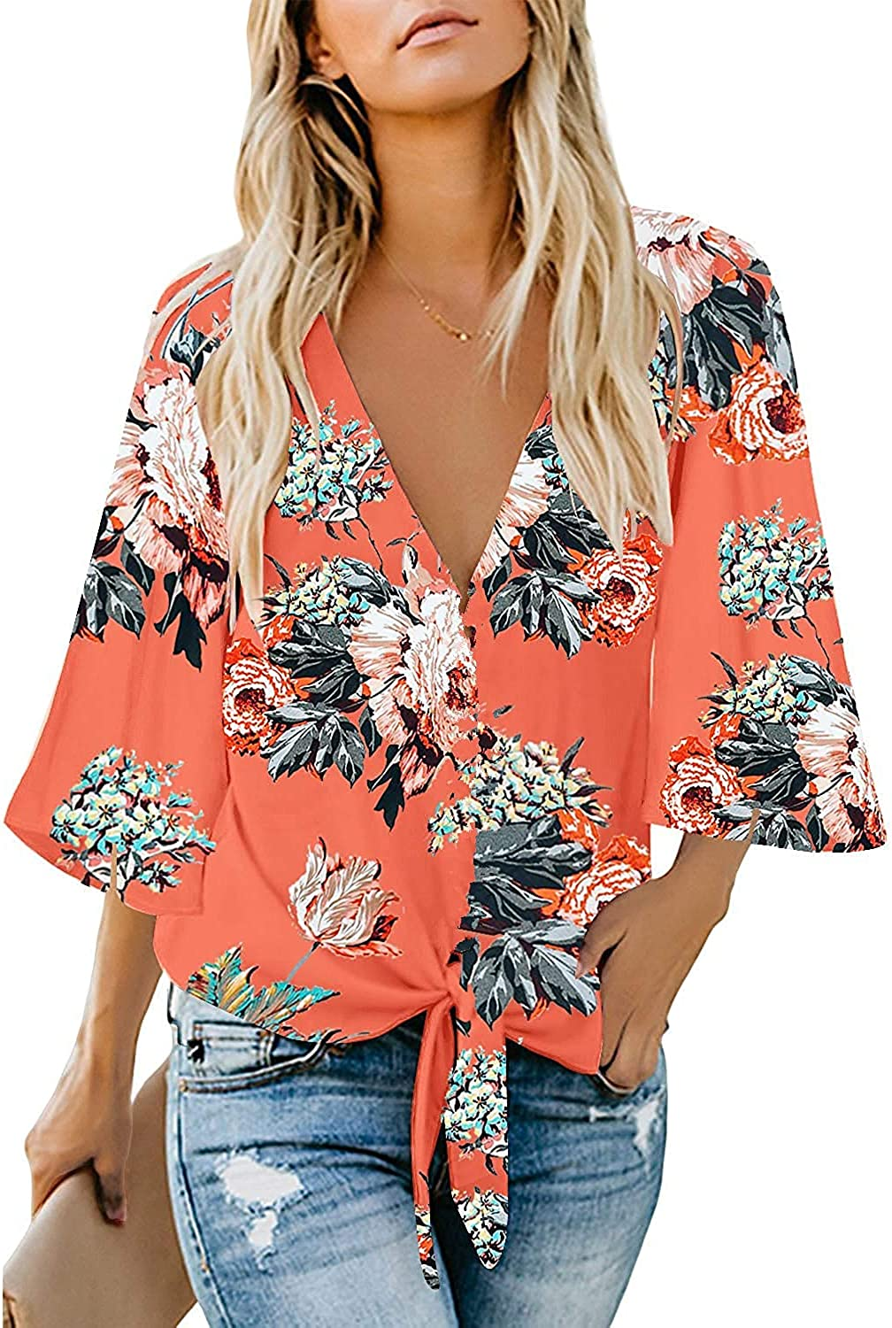 Women's Casual Floral Blouse Batwing Sleeve Loose Fitting Shirts Boho Knot Front Tops