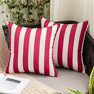 MIULEE Pack of 2 Decorative Outdoor Waterproof Throw Pillow Covers Stripe Lumbar Pillowcases Modern Cushion Cases for Patio Couch Bench 18 x 18 Inch Red and White