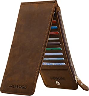 Leather Multi Card Organizer Wallet Credit Card Holder Thin Wallet with Zipper Pocket,MBNM026