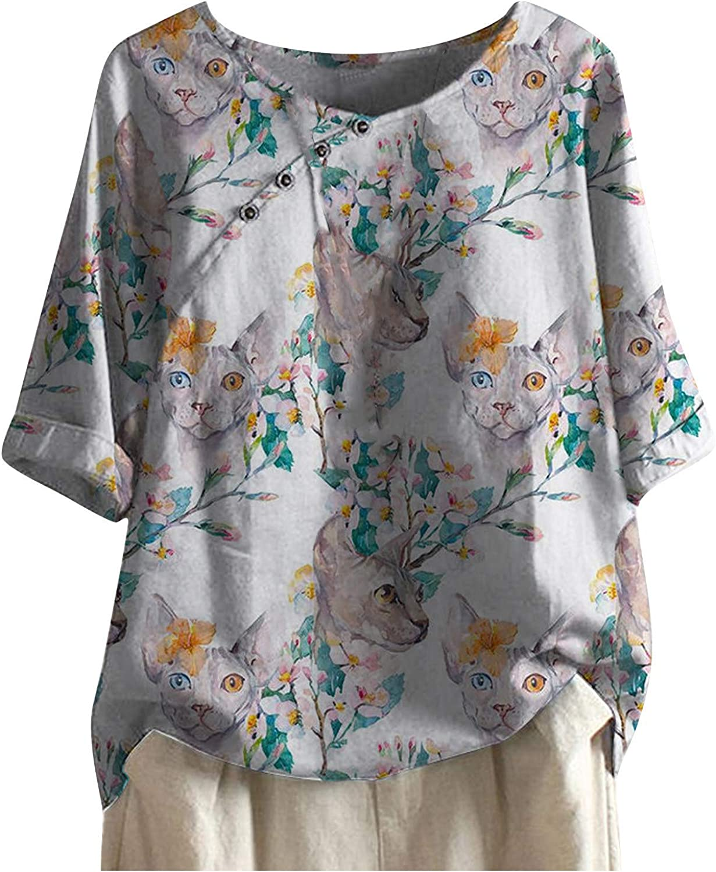 Women Tops 3/4 Sleeve Cotton Linen Blouses Button Flower Printing Tee Retro T-Shirt Vintage Tunic