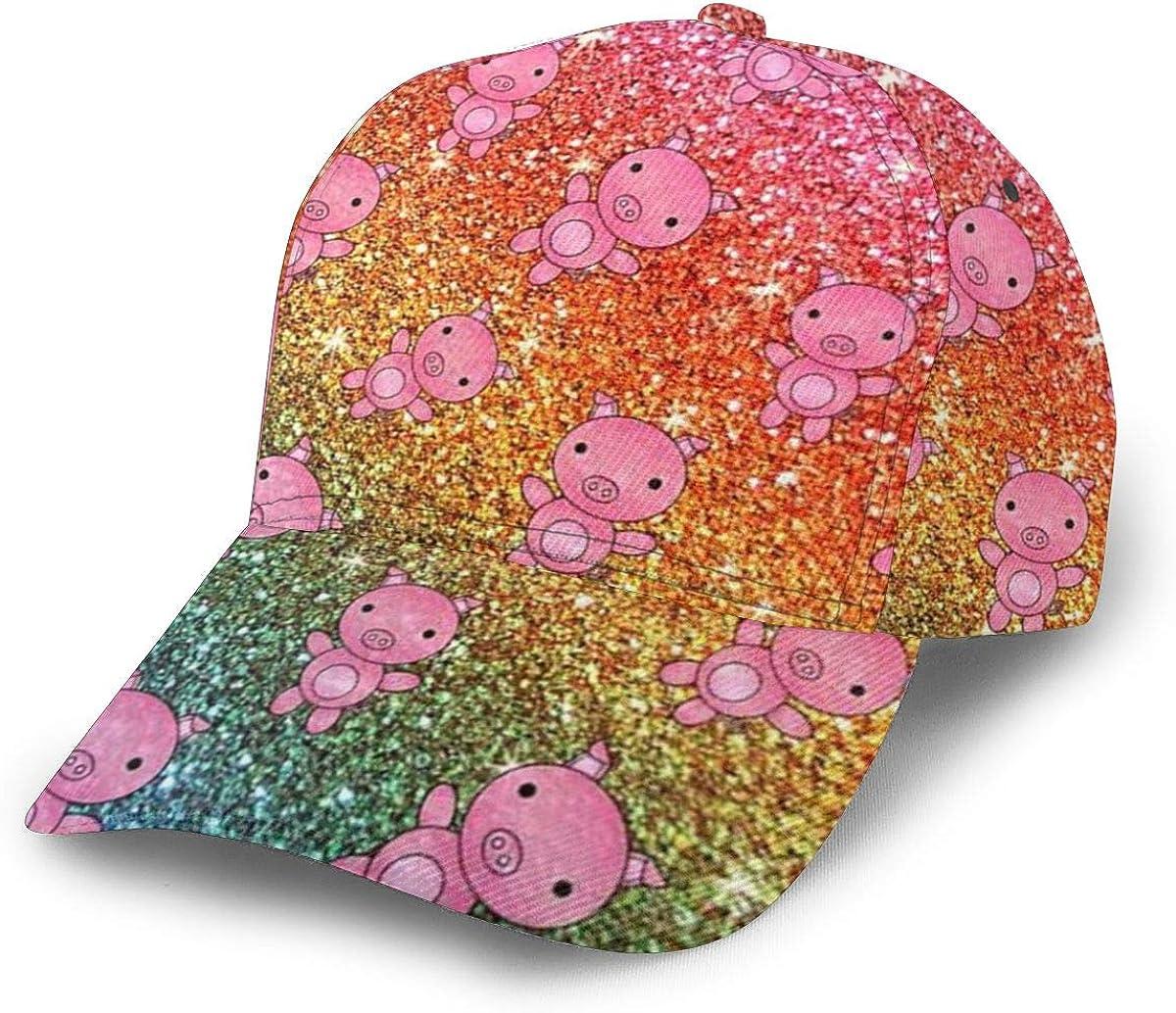 Baseball Cap Super-cheap Rainbow Glitter excellence Pig Print Caps Dad To Circular Flat
