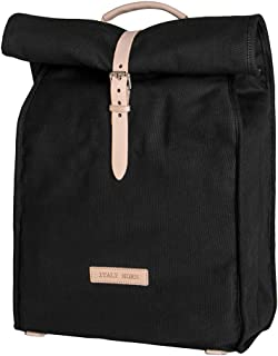 Italy Morn Canvas Backpack with Leather Belt for Men and Women - Multi-use Black