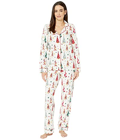 BedHead Pajamas Long Sleeve Classic Notch Collar Pajama Set (Christmas Tree) Women