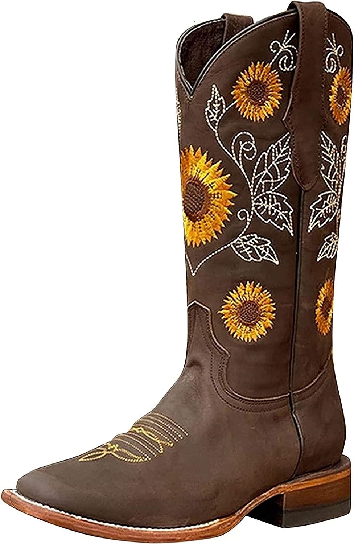 Xiakolaka Retro Cowgirl Boots Western Sunflower Embroidery Slip