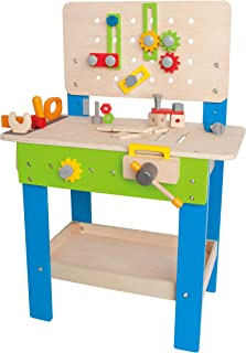 Master Workbench by Hape | Award Winning Kid's Wooden Tool Bench Toy Pretend Play Creative Building Set, Height Adjustable 35Piece Workshop for Toddlers