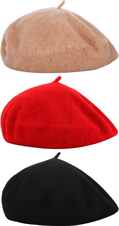 3 Pieces Women Beret Hats French Style Berets Wool Beret Winter Beret Cap