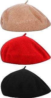 3 قطع قبعات بيريه للنساء على الطراز الفرنسي قبعات صوفية للشتاء