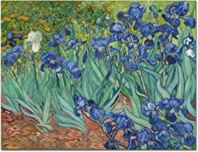 Wieco Art Irises Large Modern Gallery Wrapped Floral Giclee Canvas Print by Van Gogh Famous Blue Flowers Oil Paintings Reproduction Artwork Pictures on Canvas Wall Art for Bedroom Home Decor L