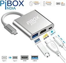 pibox India Aluminium Type C USB 3.1 to HDMI 4K/USB 3.0/USB C Converter Cable Charging Port Adapter Cable Compatible MacBook, Chromebook, Samsung Galaxy S8/S9/S10/Note 8/Note 9 (Silver)