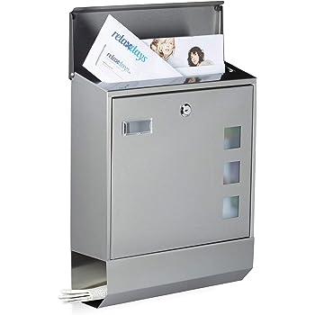 Namensschild 5cm x 36,5cm inkl 4 Schl/üssel 37cm x 10 Bernice Briefkasten Edelstahl Anthrazit mit Zeitungsfach Sichtfenster A4 Einwurf-Format Wandbriefkasten mit Hydraulikstange