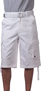Pro Club Men's Cotton Twill Cargo Shorts with Belt - Regular and Big & Tall Sizes