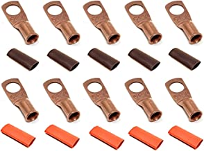 """10pcs 6 Gauge 6 AWG x 3/8"""" Pure Copper UL Listed Cable Lug Terminal Ring Connectors with Dual Wall Adhesive Lined Red + Black Heat Shrink Tubing – by WNI"""