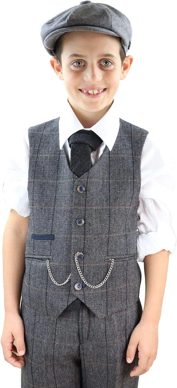 Kids 3 Piece Suit Boys Tweed Check Wool Blinders 1920s Classic Vintage