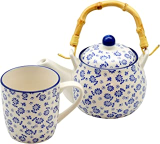 Nicola Spring White and Blue Daisy Tea/Coffee Pot (500ml) with Bamboo Handle & Mug (280ml) Set