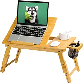 HUANUO Lap Desk- Fits up to 15.6 Inch Laptop Desk, Foldable Bed Tray Breakfast Table with 5 Angles Tilting Top, Height Ad...