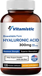 Vitamistic Hyaluronic Acid 300mg 120 Veggie Capsules, Pure and Natural, Bioavailable Form for Enhanced Absorption, Non-GMO...